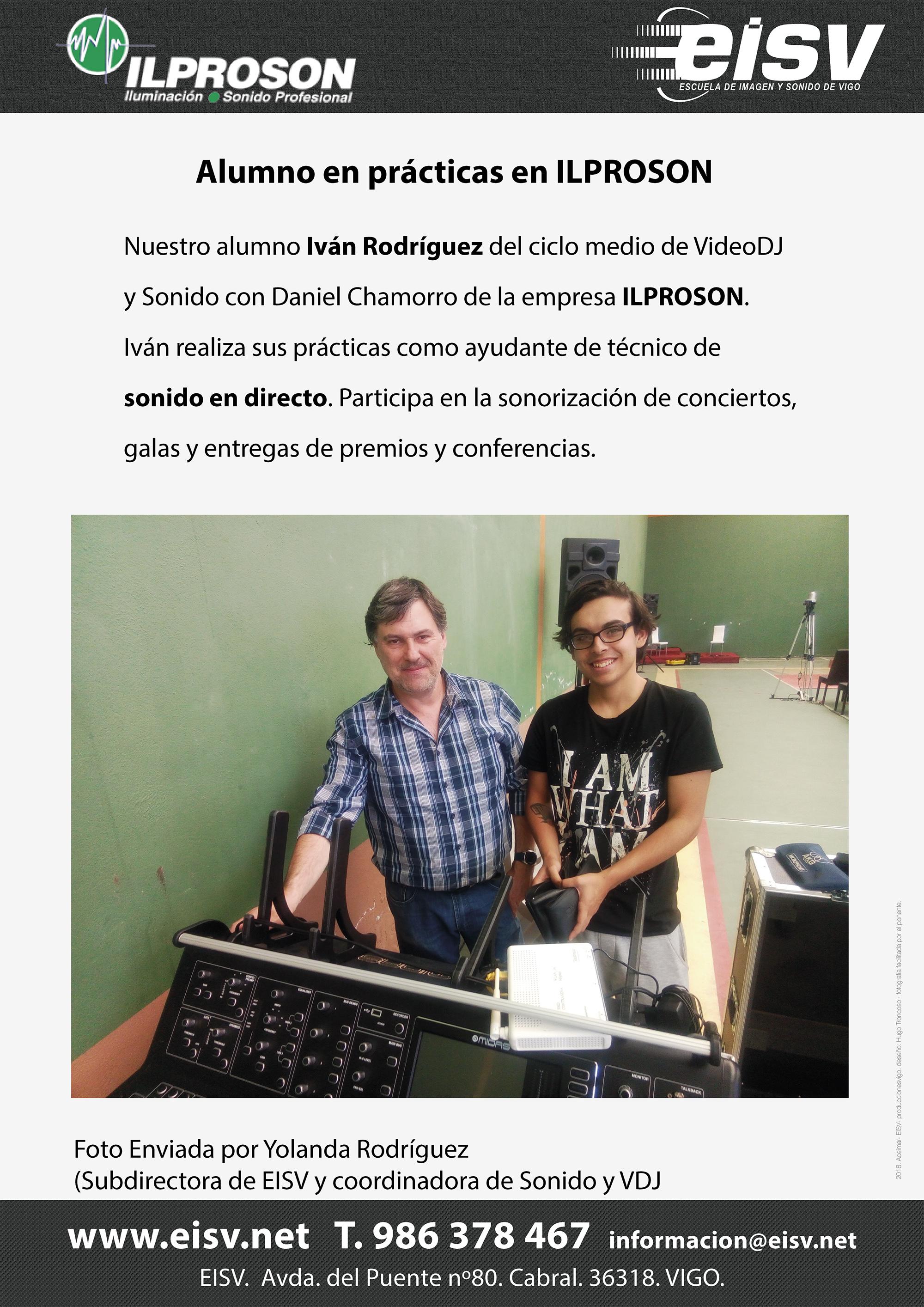 Iván Rodriguez practicas FCT empresa ILPROSON