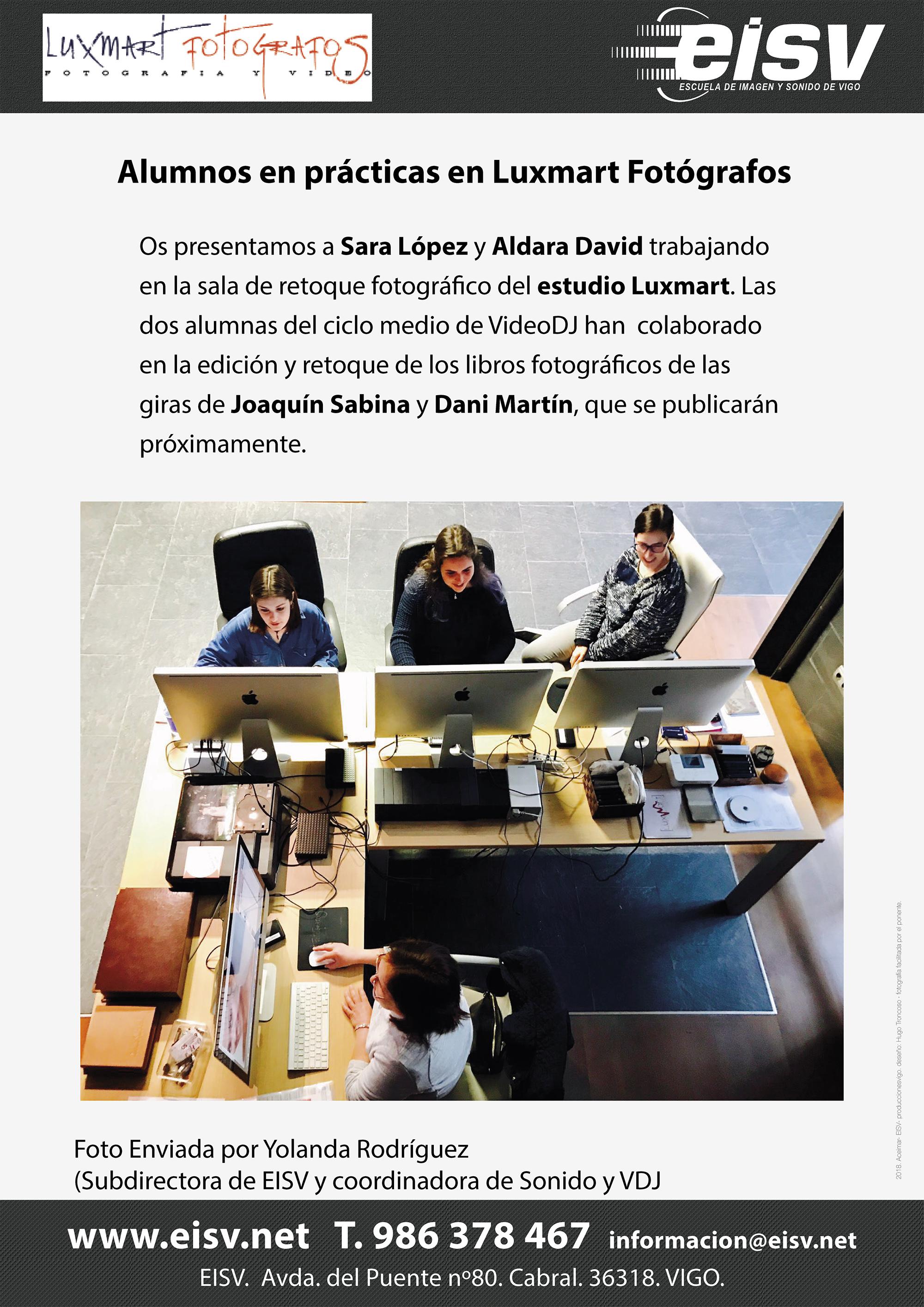Sara López y Aldara David practicas FCT empresa Luxmart Fotógrafos