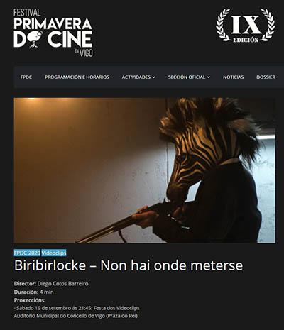 El Videoclip de EISV Non hai onde meterse de Biribirlocke seleccionado en el Festival Primavera do Cine